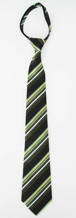 """21"""" Men's Green, Olive, Black Stripe Zipper Tie 11222-0"""