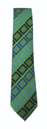 """49"""" Boy's Lime/Blue Black Large Squares Boy's Tie 11233-0"""