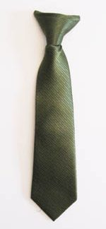 """11"""" Boys Clip-On Olive Solid Tone on Tone Rectangles Tie 11371-0"""