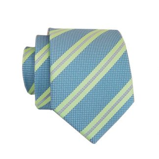 French Blue & Green Stripe Men's Skinny Tie 1199