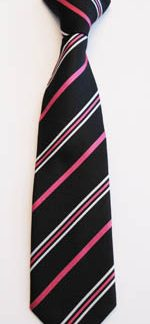 """11"""" Clip Black/Fuschia/White Stripe Boy's Microfiber Tie 1822-0"""