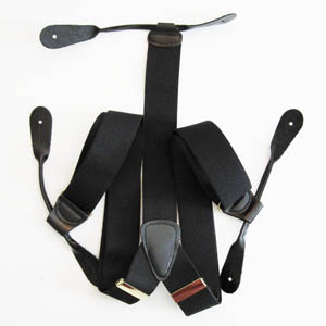 Black Solid Button Suspenders 2048-0