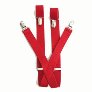 "Red 1""x30"" Solid Kids Suspenders 2082-0"