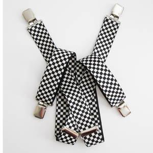 Black, White Checker Suspenders 4685-0