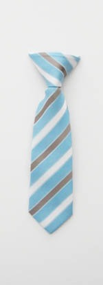 "8"" Boys Clip-On Light Blue/Gray/White Stripe Tie 5221-0"
