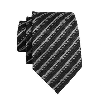 Charcoal & Gray Stripe Men's Skinny Tie 5325