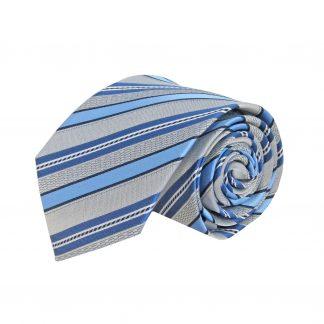 Tie Silver/Light Blue Stripe Skinny Men's Ties 4765-0