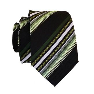 Green Olive & Black Stripe Men's Skinny Tie 6050