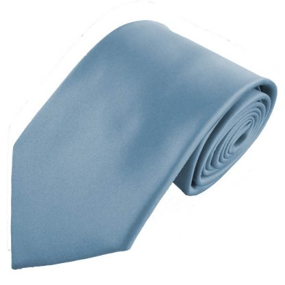 French Blue Solid Men's Tie w/ Pocket Square 6445