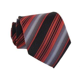 Narrow Red Black & Gray Stripes Men's Tie 6545