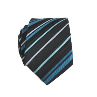Teal/Black/Blue Stripes Skinny Men's Tie 6584-0