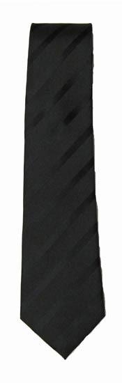 "49"" Boy's Self-Tie Black Tone-On-Tone Stripe Tie 7142-0"