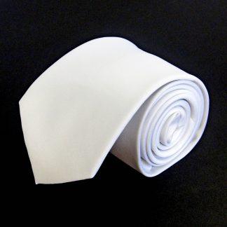 White Solid Men's Tie 9972-0