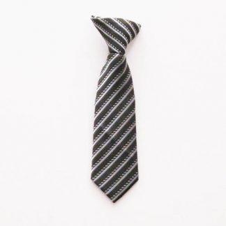"8"" Boy's Clip-On Charcoal/Black/Silver Stripe Tie 1621-0"