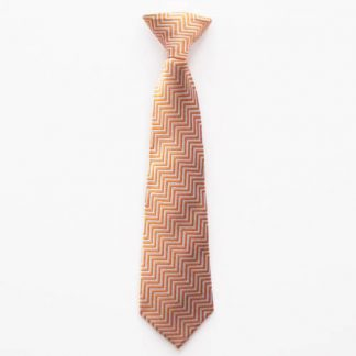 "11"" Boy's Clip-On Orange/Gray Zig Zag Pattern Tie 1698-0"