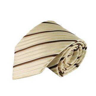 Cream White & Brown Stripe Men's Tie w/ Pocket Square 10898