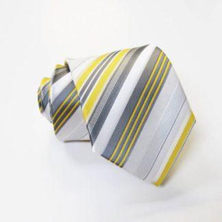 "49"" Boy's Self-Tie Yellow Gray & White Stripe Tie 4088-0"
