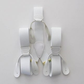 White Solid Button On Suspenders 2083-0