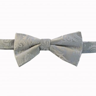 Silver Tone on Tone Paisley Banded Bow Tie 7033-0
