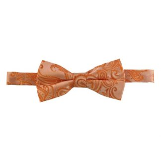 Orange Paisley Banded Bow Tie 7779