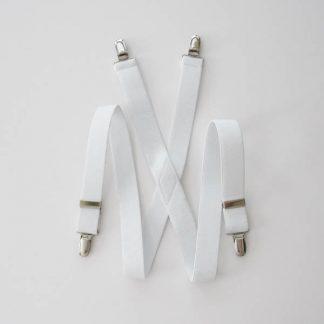 "White Solid 1 x 30"" Kids Suspenders 3822-0"
