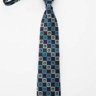 """14"""" Boy's Zipper Tie Black/Blue Squares 11217-0"""