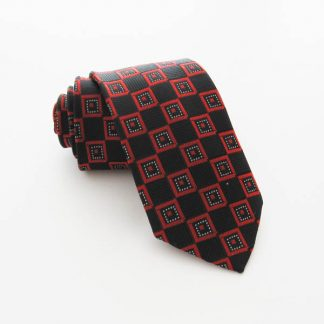"49"" Boy's Black, Red Squares Tie 7624-0"