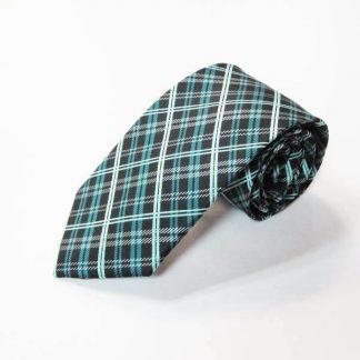 Black, Turquoise Small Plaid Men's Tie 1056-0
