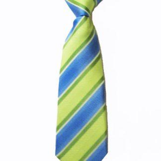 "8"" Boy's Clip-On Lime, Blue Stripe Tie 1712-0"