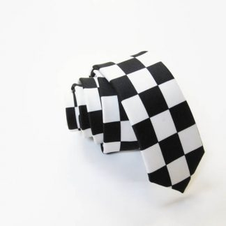 Black, White Checker Skinny Men's Tie 0336-0