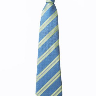 "11"" Boy's Clip-On Green, French Blue Stripe Tie 4027-0"