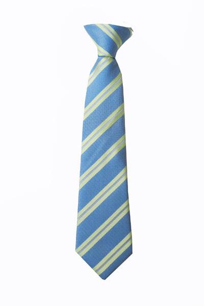 "11"" Boy's Clip-On Green, French Blue Stripe Tie 4027-0"