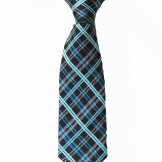 "8"" Boy's Clip-On Black, Turquoise Plaid Tie 4176-0"