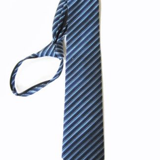 "23"" XL Men's Navy Blue, Light Blue Stripe Zipper Tie 7942-0"