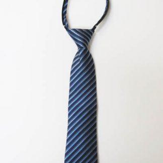 """14"""" Boy's Zipper Tie Navy Blue, Light Blue Stripe 8995-0"""