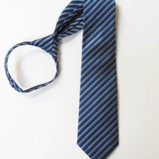"""21"""" Men's Navy Blue, Light Blue Stripe Zipper Tie 8997-0"""