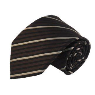 Brown Black & Beige Stripe Men's Tie w/ Pocket Square 7868