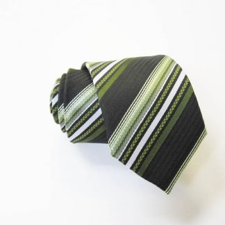 "49"" Boy's Self Tie Green, Black, White Stripe Tie 2978-0"