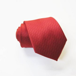 "49"" Boy's Self TIe Red Solid Tone on Tone Rectangles Tie 3815-0"