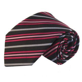 Black, Fuchsia, Pink & Silver Stripe Men's Tie 11086