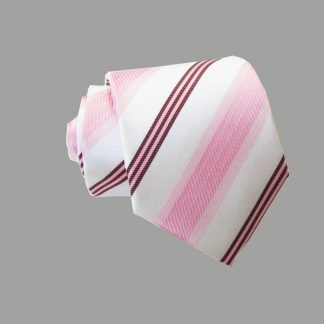 "49"" Boy's Pink, White, Burgundy Stripe Tie 10111-0"