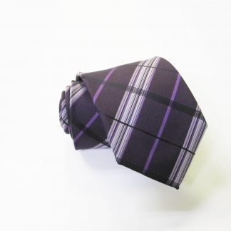 "49"" Boy's Self Tie Egg Plant, Purple Plaid Tie 2434-0"