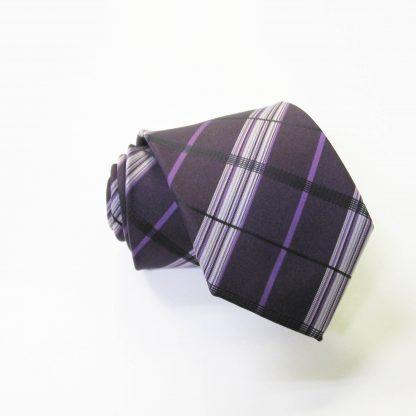 "49"" Boy's Self Tie Egg Plant, Purple Plaid Tie 2434-0"