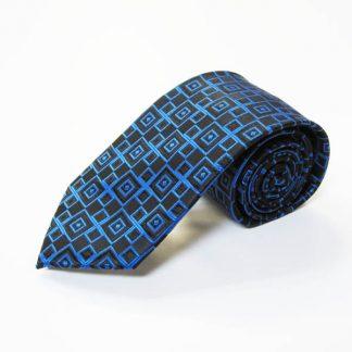 """63"""" XL Royal Blue, Black Squares Men's Tie 4078-0"""