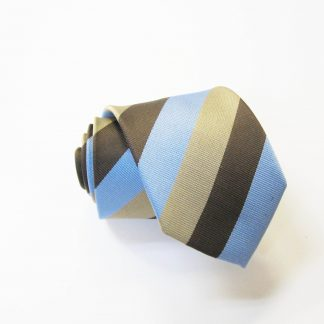 "49"" Boy's Self Tie Brown, Khaki, Light Blue Stripe Tie 9951-0"