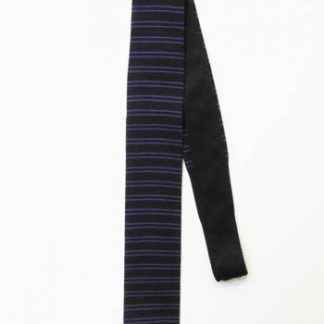Black, Purple Horizontal Stripe Knit Skinny Tie 3490-0