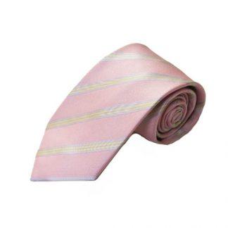 Pink, Yellow, Lavender Stripe Men's Tie 4087-0