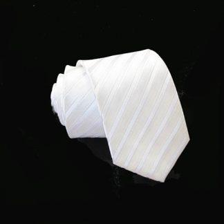 Skinny White Tone on Tone Stripe Tie w/Pocket Square 4703-0