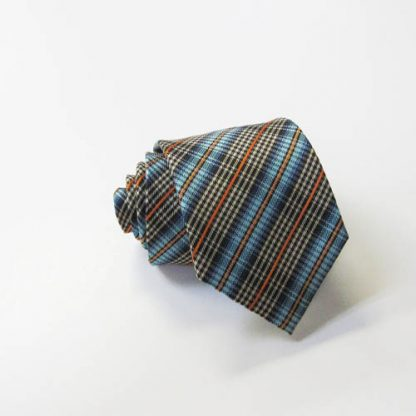 "49"" Boy's Self Tie Brown, Turquoise, Orange Plaid Tie 1027-0"