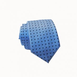 Skinny Light Blue w/ Navy Dots Tie w/Pocket Square 2214-0